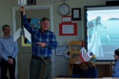 *Graham Hawkes explains to Islesboro, ME students how the Sea Rocket works